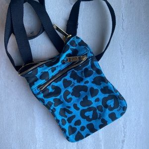Victoria secret pink blue leopard crossbody purse